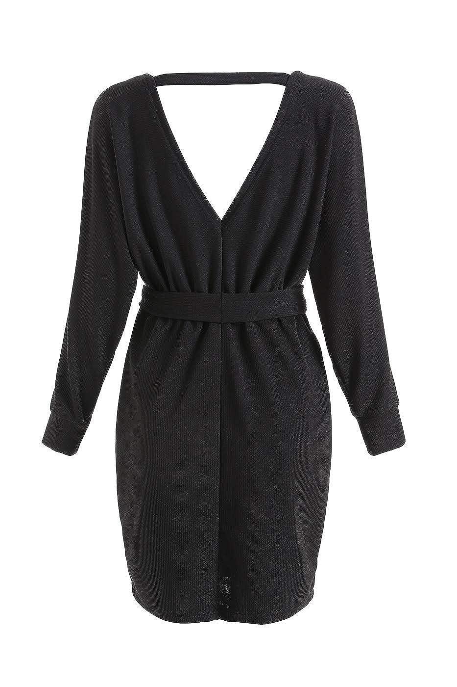 HaoHuodress Donna Vestito a Maglia Wrap Dress Scollo a V Manica Lunga Senza Schienale con Cintura Lunghezza Coscia