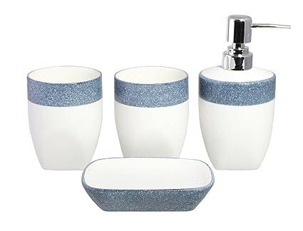 Merveilleux 4 Piece Two Tone Elegant Minimalist Ceramic Bathroom Accessory Set   Soap  Dispenser And Soap