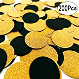 Black Gold Table Confetti Circles Table Scatter Paper Confetti Wedding Bridal Shower Baby Shower Birthday Party Confetti Decorations, 200pc
