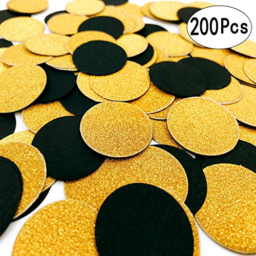 Centerpiece Birthday Table Party (Black Gold Table Confetti Circles Table Scatter Paper Confetti Wedding Bridal Shower Baby Shower Birthday Party Confetti Decorations, 200pc)
