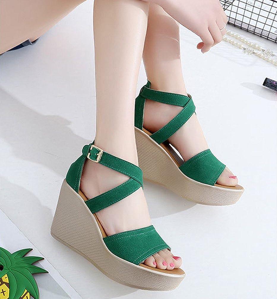 Anguang Piattaforma Moda Sandali da Donna con Vacanza Zeppa Vacanza con Estate Scarpe  Verde a9cc3f