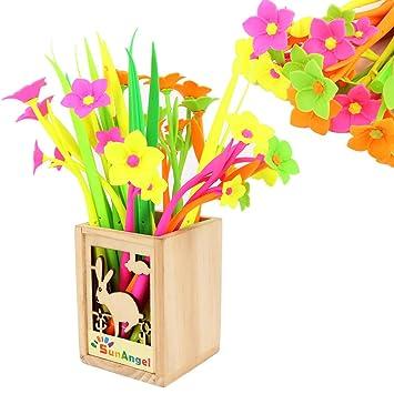 Amazon sunangel cute cartoon silicone flower pens green grass sunangel cute cartoon silicone flower pens green grass blade ballpoint silicon grass pen mightylinksfo