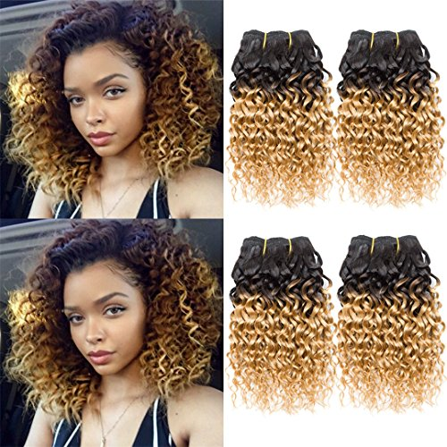 Curly Hair 8 Inches 4 Bundles Short Human Hair Kinky Curly Weave Brazilian Virgin huamn Hair 50G/Bundle (8inchX4, 1B/27#) (Best Hair Color For Short Curly Hair)