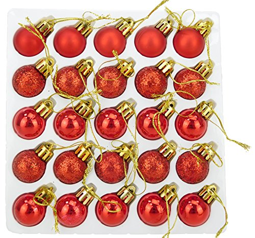 Christmas Concepts Pack of 25-25mm Mini Christmas Tree Baubles - Shiny, Matte & Glitter Decorated Baubles ()