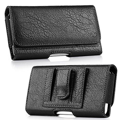 Black Leather Pouch Belt Loop Clip Wallet Case w/Credit Cards Slot Blu Studio Energy X Plus 2, Pure XR, Vivo 5R, Vivo XL2, Vivo XL3, Vivo XL, Vivo 8, Vivo 8L, Life One X3, R1 Plus, Vivo XI+, Vivo XL4 (Studio Energy Blu)