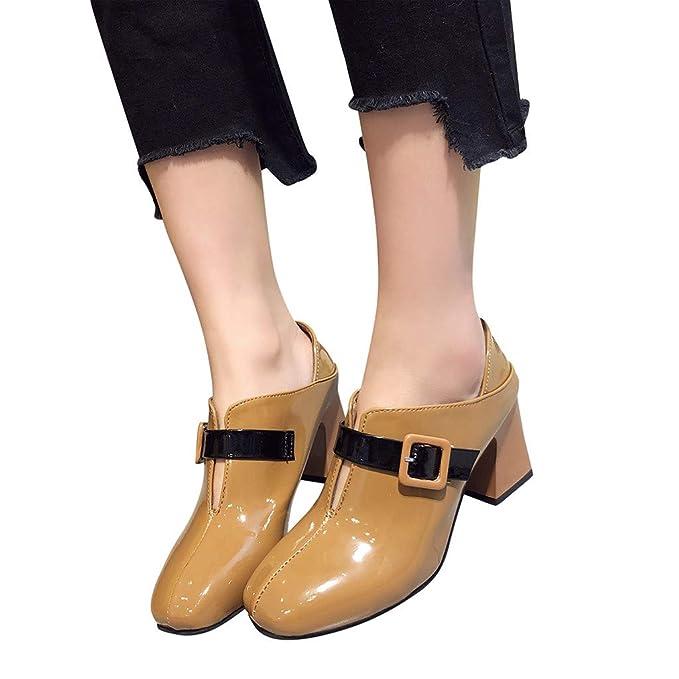 Bestow Señoras Cabeza Cuadrada Gruesa con Hebilla de cinturón Dos Zapatos de tacón Alto Señoras Zapatos de tacón Cuadrado: Amazon.es: Ropa y accesorios