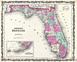 Historic 1862 Johnson Map of Florida - 24 x 20in Fine Art Print