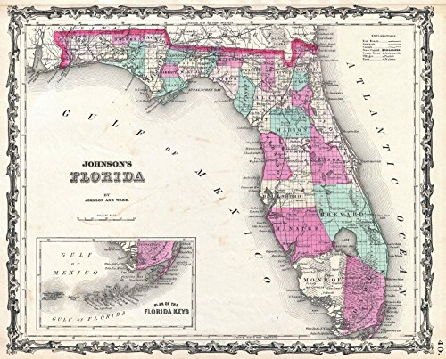 Historic 1862 Johnson Map of Florida - 24 x 20in Fine Art Print by historic pictoric