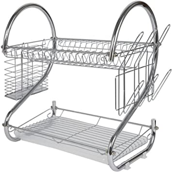 Modern Kitchen Chrome Plated 2 Tier Dish Drying Rack And Draining Board Organized Utensil