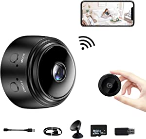 Spy Camera Wireless Hidden Mini Camera, Wireless WiFi HD 1080P Portable Home Security Cameras with 32G SD Card, Small Nanny Cam with Night Vision and Motion Detection for Car/Office/Home/Outdoor