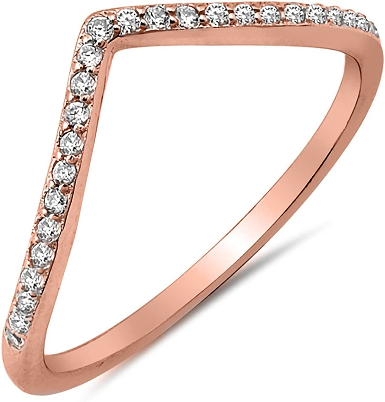 V Shape Sterling Silver 925 Rose Gold Plated Clear CZ Face Height 2 mm Size 4