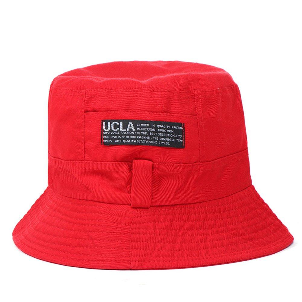 Bright Red Mosichi Women Men Outdoor Letters Print Soft Canvas Summer Sun Shade Cap Bucket Hat