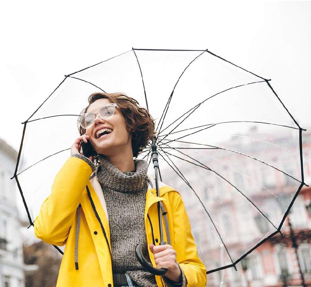 Parapluie Blanc Long Parapluie Femme et Homme Transparent Parapluies Transparents Automatique Coupe-Vent 14 Tiges de Fibre de Verre