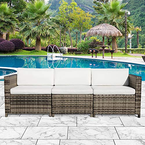 Orange-Casual 3-Seater Seating Outdoor Wicker Sofa Couch Patio Furniture w/Steel Frame Removable Cushions - Grey, Corner Sofa Chairs& Armless Chair