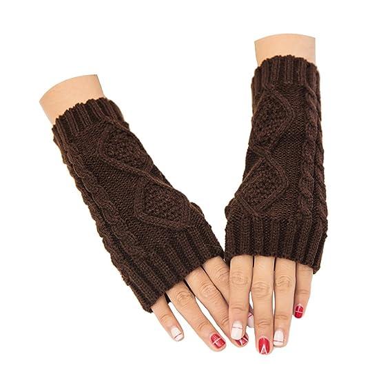 ZYHstore Damen Mädchen Häkeln gestrickte Halb fingerlose Handschuhe ...