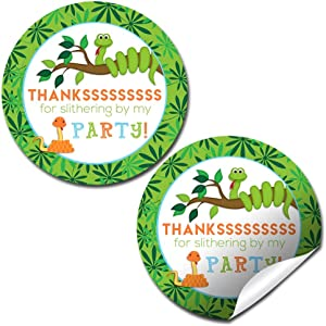 """Snake Birthday Party Thank You Sticker Labels, 40 2"""" Party Circle Stickers by AmandaCreation, Great for Party Favors, Envelope Seals & Goodie Bags"""