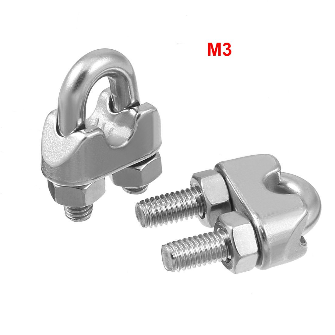 ZXHAO 12pcs M3 Stainless Steel Wire Rope Cable Clip Clamp 1//8
