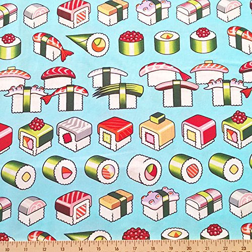 ALEXANDER HENRY COTTON FABRIC - SUSHI PLEASE ENJOY LIGHT BLUE - BY YARD ORIENTAL ASIAN JAPANESE FOOD