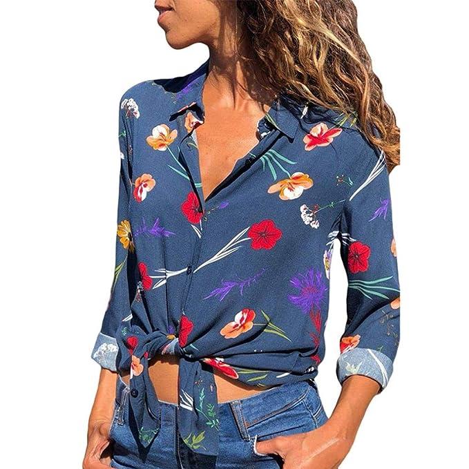 LuckES Camisa de impresión Floral con Cuello en V de Las Mujeres con el botón Camisa