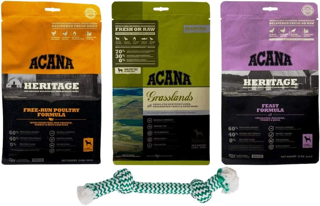 Acana Dry Dog Food Kibble 3 Flavor Sampler with Dental Rope Toy Bundle, 1 Each: Feast Free-Run Poultry, Grasslands Lamb Trout Game Bird, Heritage Feast Duck Turkey Quail (12 Ounces)