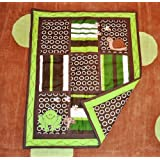 Pollywog Pond Baby Boy Frog Themed Quilt Green & Brown 100% Cotton
