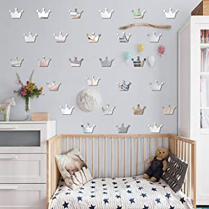 Princess Crown Mirror Effect Wall Decals Removable Stickers Vinyl Decal Decor for Kids Baby Bedroom Nursery Decoration Home Decor Wall Stickers 15Pcs Mirrors for Wall Stickers (Silver)