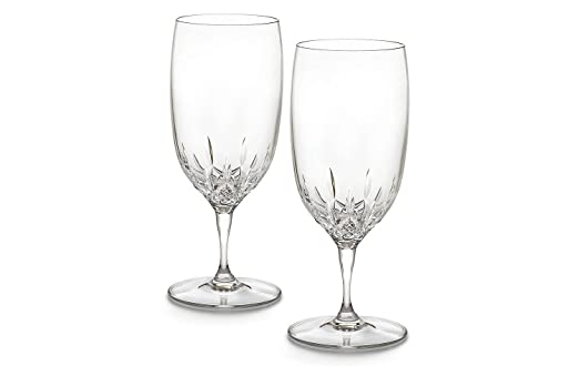 Crystal Lismore Essence Pattern Water Glass - Set of 2 by Waterford Crystal | http://christmastablescapedecor.com/elegant-silver-table-setting/