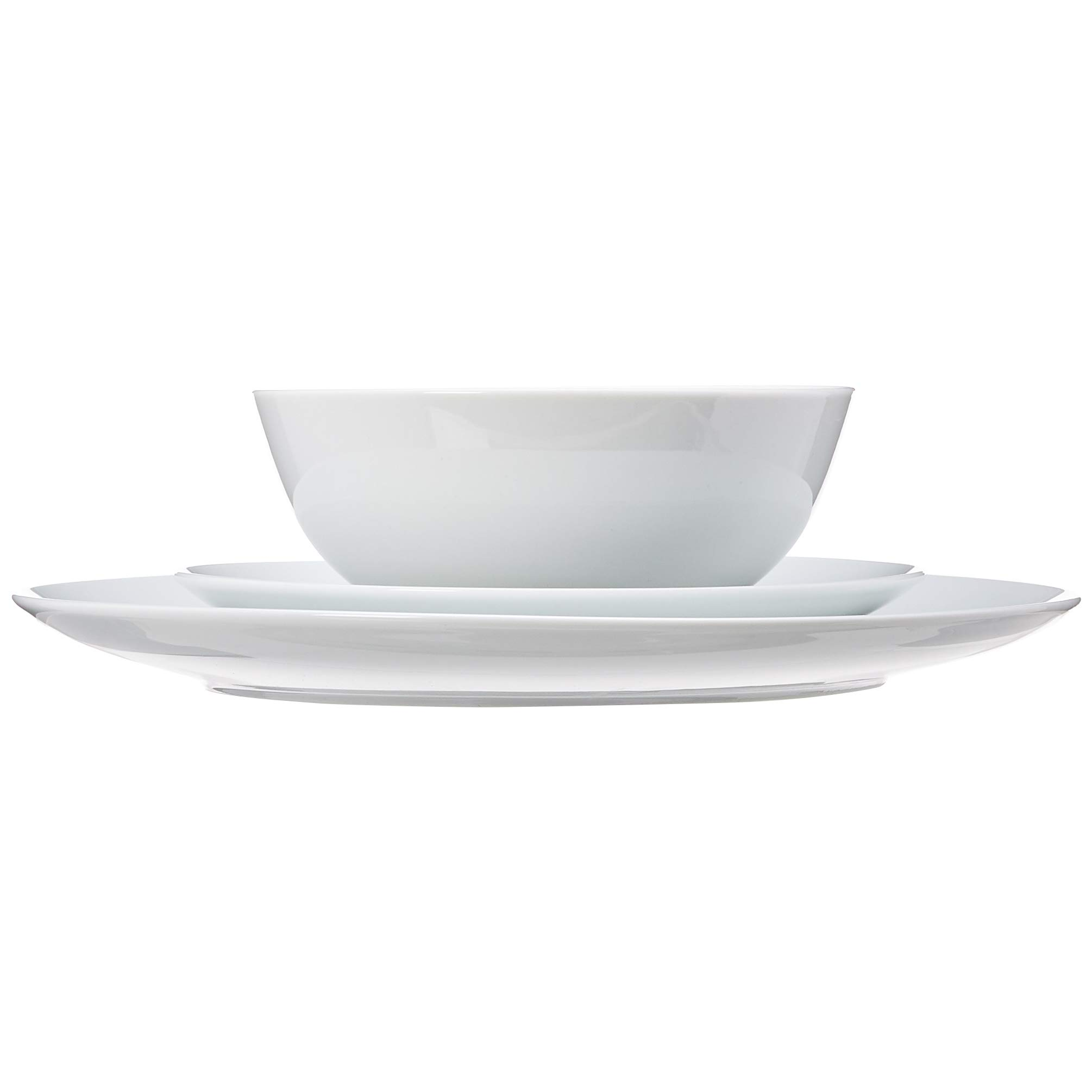 AmazonBasics 18-Piece Kitchen Dinnerware Set, Dishes, Bowls, Service for 6, White Porcelain Coupe by AmazonBasics (Image #5)