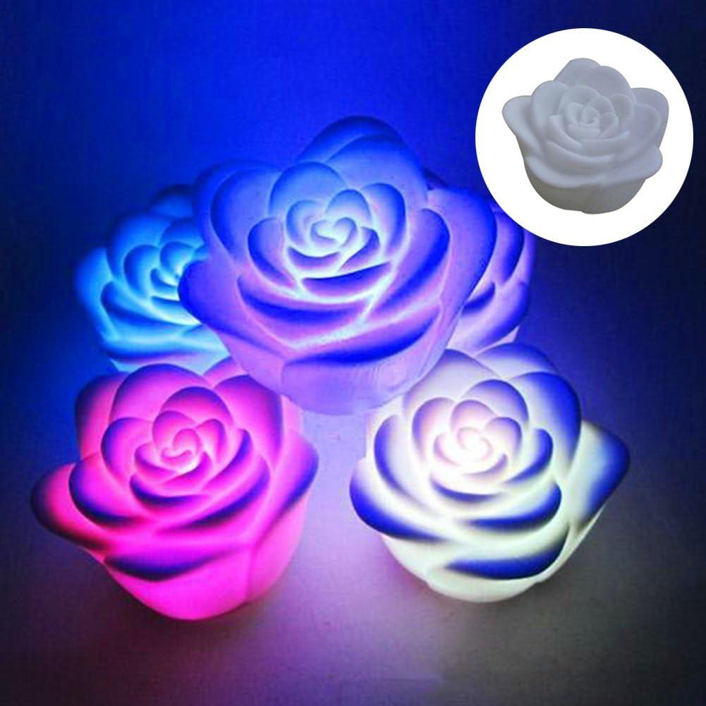 Nuohuilekeji /étanche flottant Fleur Rose /à changement de couleur LED Night Light Home Party Decor