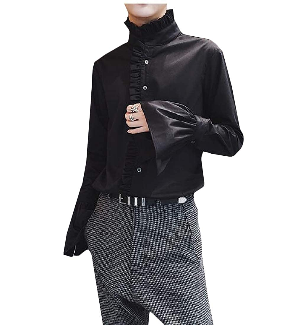 Pandapang Mens Hipster Slim Fit Ruffles Button Down Flare Sleeve Shirts
