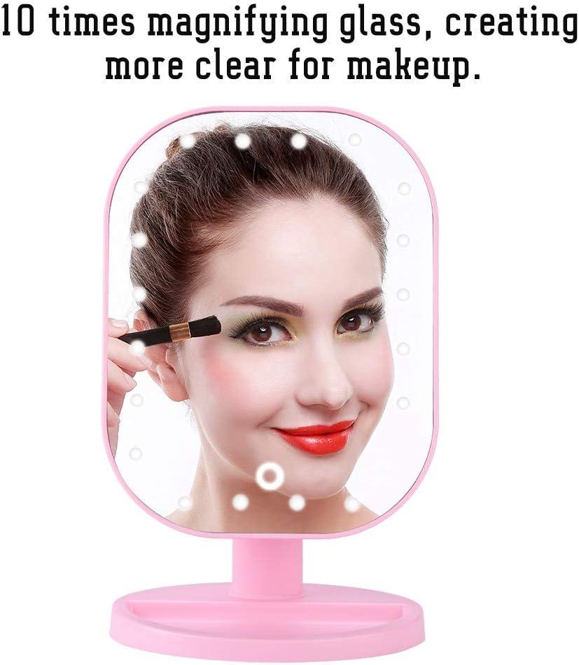 Kosmetikspiegel mit 180/° Drehgelenk beleuchteter Kosmetikspiegel mit 10-facher Vergr/ö/ßerung 20 LEDs LED-Schminkspiegel Rosa
