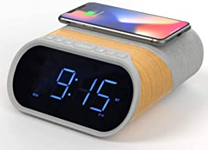 i-box Digital Alarm Clock Radio, Bedside Clock Bluetooth Speaker 10W Stereo Sound with Fast Qi Wireless Charging, 2 USB Ports, Dual Alarm, FM Radio, Nature Sounds and Large Dimmable LED Display Clock