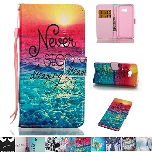 Galaxy A5 2017 Case, Firefish PU Leather Wallet Case [Card Slots] [Kickstand] with Strap Magnetic Clip Impact Resistant Protect Case for Samsung Galaxy A5 2017 -Sea