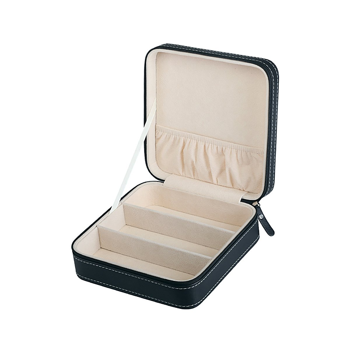 HooAMI Black Leather Small Travel Jewelry Box Organizer Display Storage Case for Rings Earrings Necklace TY BETY129569