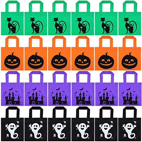 Diy Halloween Party Snacks (24 Pieces Halloween Jack-o-Lantern Pumpkin Tote Bags Halloween Non-Woven Candy Bags Trick or Treat Goody Bags for Halloween Party Favors Supplies (Color Set)