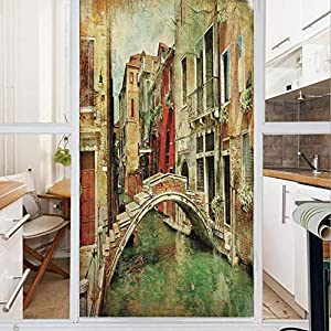 Decorative Window Film,No Glue Frosted Privacy Film,Stained Glass Door Film,Vintage Artwork Painting Style Historic Venetian Landscape Artistic Print Decorative,for Home & Office,23.6In. by 35.4In Gre