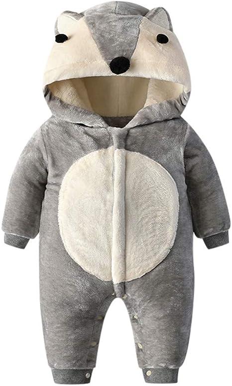 Newborn Baby Autumn/&Winter Romper Cartoon Animals Pattern Doll Collar Jumpsuit