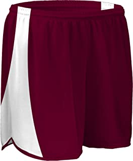 """product image for PT-687-CB Men's 5"""" Athletic Performance Track Short with Side Panels and Inner Brief (Small, Maroon/White/Maroon)"""