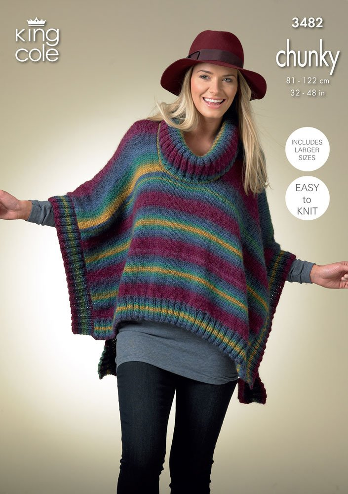 King Cole Urban Knitting Pattern Ladies Womens Easy Knit Ponchos Hat