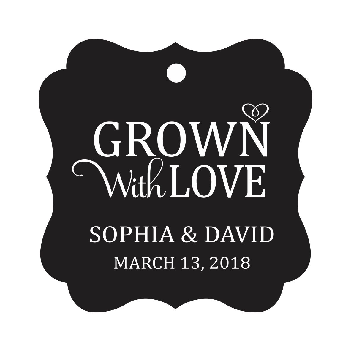 Darling Souvenir Grown With Love Personalized Fancy Frame Bonbonniere Wedding Party Favor Paper Tags-Black-100 Tags