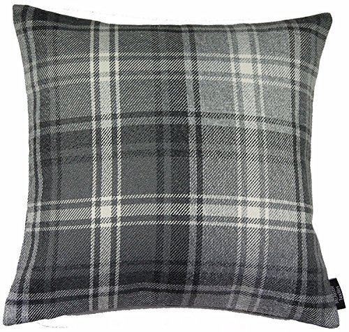 McAlister Angus Large Decorative Pillow Cover | 20x20 Charcoal Gray Black and White | Burlap-Texture Buffalo Plaid | Tartan Check Farmhouse Accent (Tartan Check)