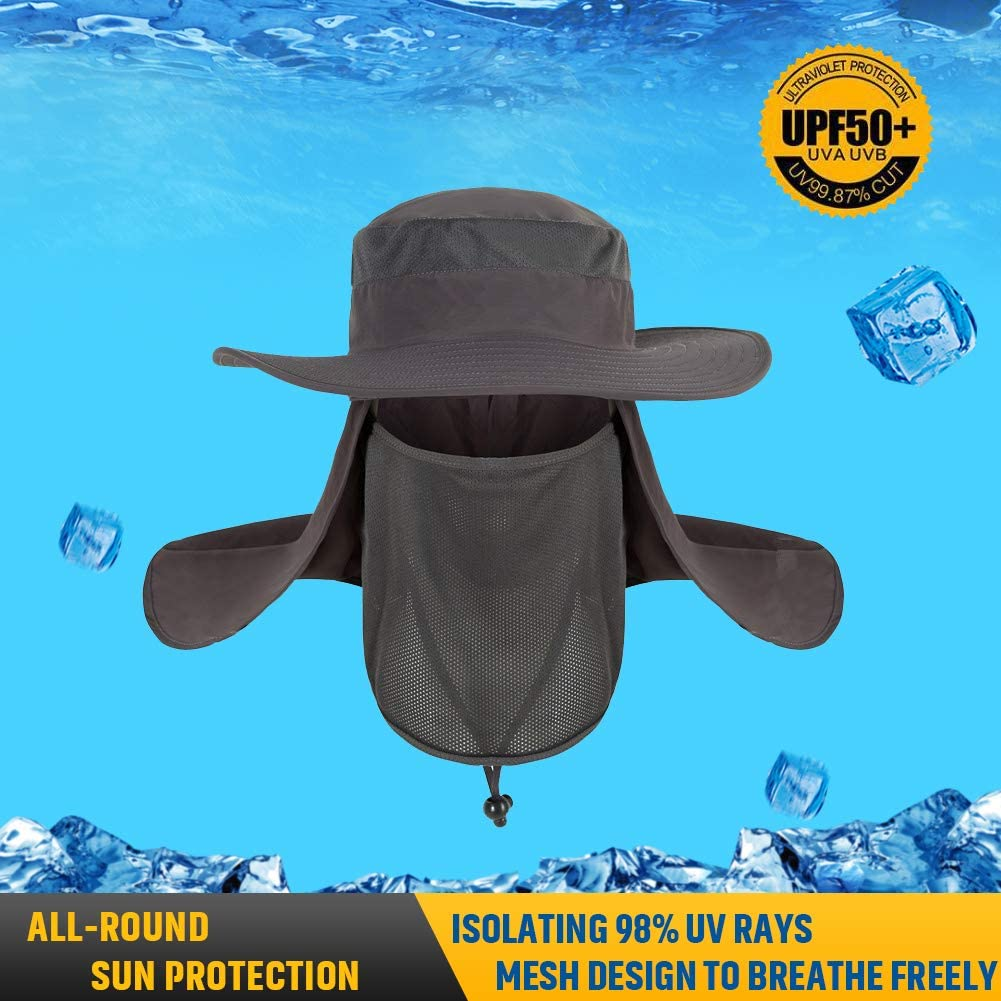 UV Boonie Hat with Removable Neck Face Flap Sun Hat Outdoor Sun Protection UPF 50 Fishing Hat for Men//Women