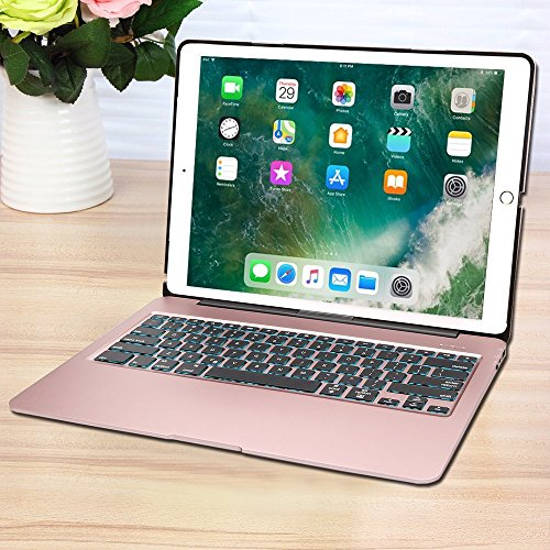Keyboard Case for iPad Pro 12.9,7 Colors Backlight Slim Aluminum Wireless Keyboard with Protective Translucent Silicone Keyboard Cover and 5600 mAh Power Bank for iPad Pro 12.9 inch(12.9 Rose Gold) by KINGZE (Image #6)