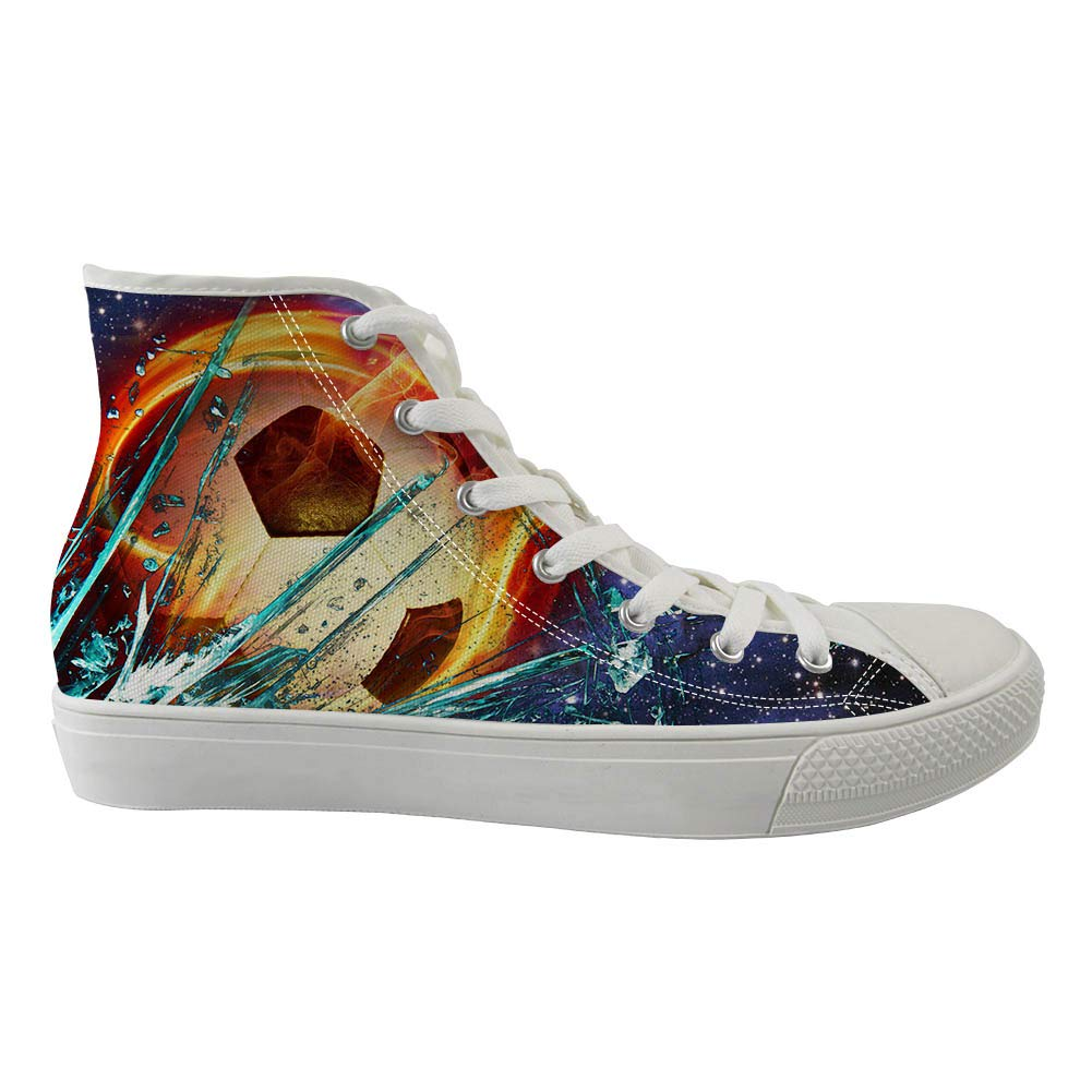 Zzjsstore Design High-Side Canvas Shoes 3D PrintedRed Football Patterned High-Side Black Bottom Canvas Shoes are Suitable for Womens Leisure