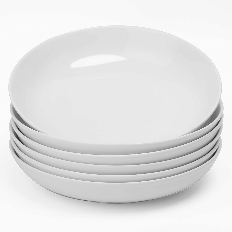 amHomel Small Salad Bowls, 16 Ounce Ceramic Serving Bowls, Small Porcelain Pasta Bowls, Set of 6, White