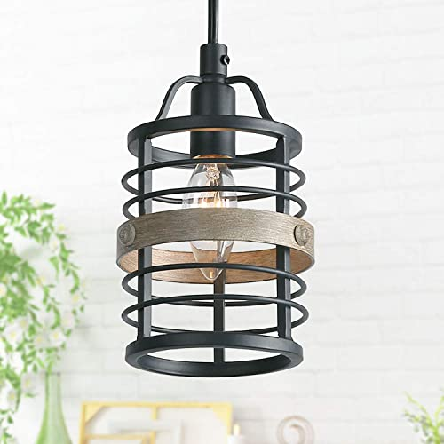 LNC Farmhouse Faux-Wood Pendant Lighting Rustic Mini Hanging Fixture for Kitchen Island, Dining Room, Bedroom, Foyer and Hallway, Black