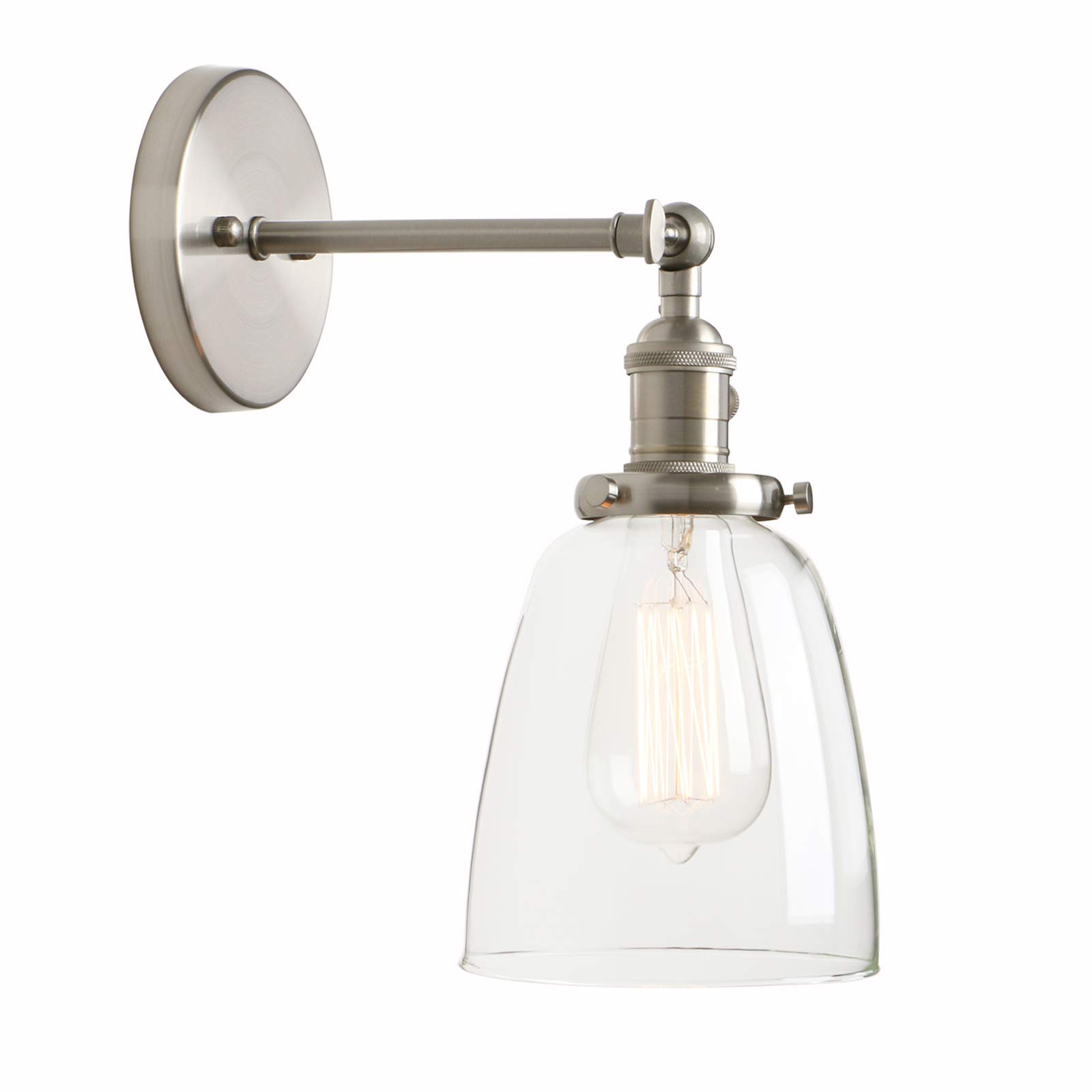 Permo Industrial Vintage Single Sconce With Oval Cone Clear Glass Shade 1-light Wall Sconce Wall Lamp (Brushed) by Permo (Image #1)
