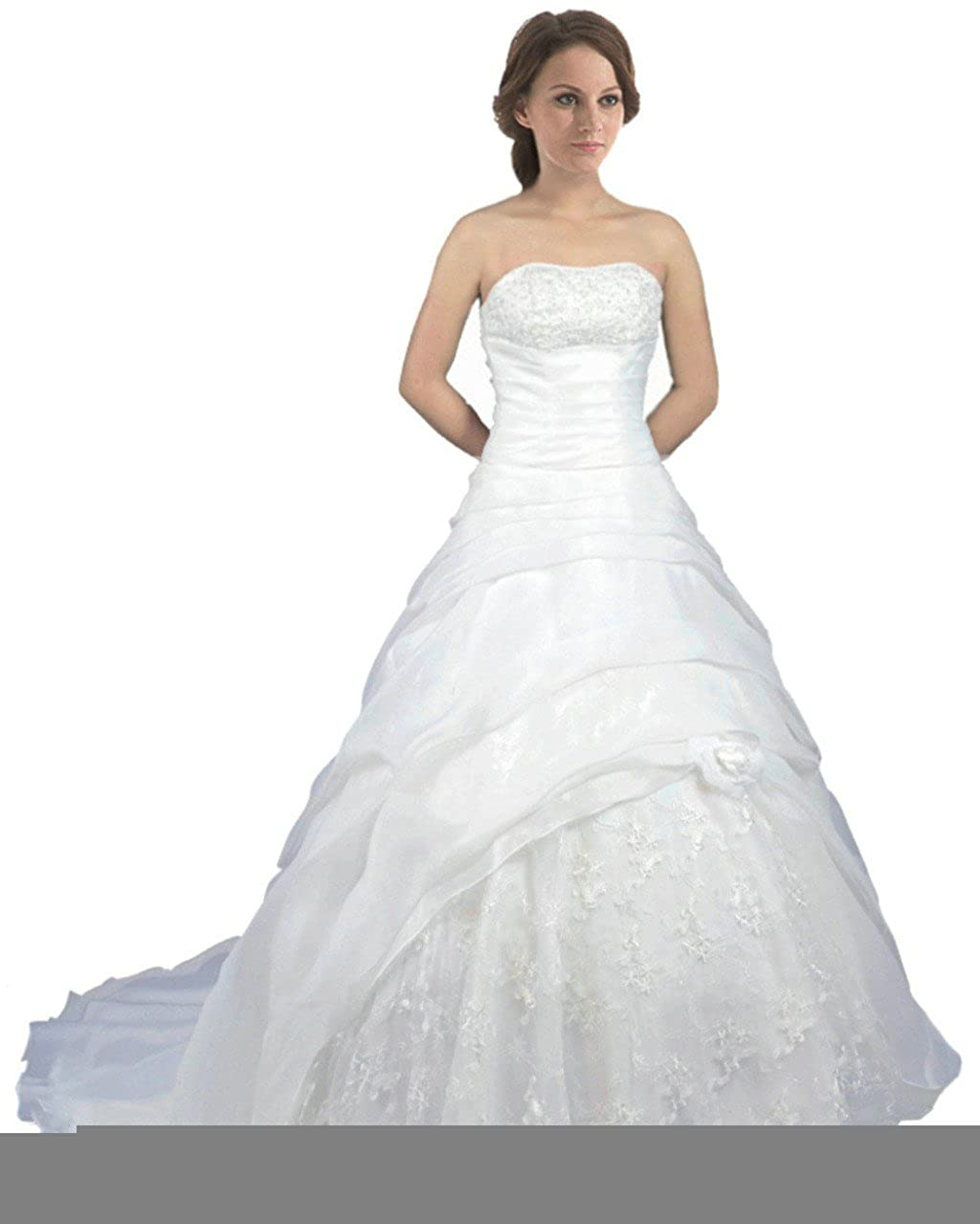 Ivory Vantexi Women's Strapless Pleated Organza Wedding Dress Bridal Gown