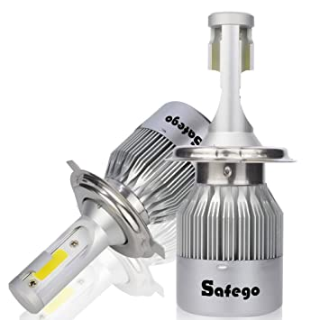 Safego 2X H4 Hi/Lo LED Faro Bombillas Alquiler de Luces LED 72W 7600Lm LED