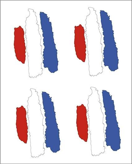 Amazon.es: Artimagen Pegatina Bandera Trazos Francia 4 ud. 45x25 mm/ud.